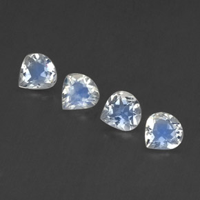 Blue White Rainbow Moonstone Gem - 0.4ct Pear Facet (ID: 339523)