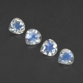 Blue White Rainbow Moonstone Gem - 0.4ct Pear Facet (ID: 339524)