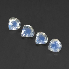 Blue White Rainbow Moonstone Gem - 0.3ct Pear Facet (ID: 339525)