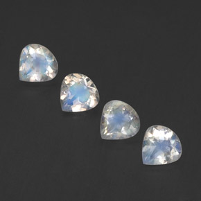 Blue White Rainbow Moonstone Gem - 0.4ct Pear Facet (ID: 339576)