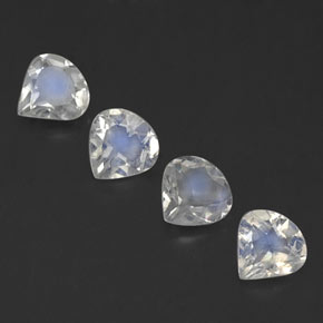 Blue White Rainbow Moonstone Gem - 0.3ct Pear Facet (ID: 339585)