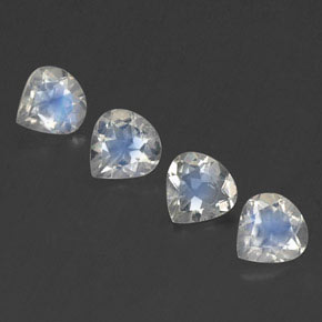 Blue White Rainbow Moonstone Gem - 0.4ct Pear Facet (ID: 339664)