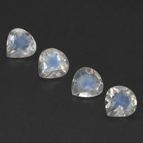 Blue White Rainbow Moonstone Gem - 0.3ct Pear Facet (ID: 339666)