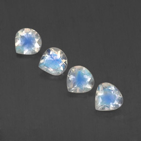 Blue White Rainbow Moonstone Gem - 0.4ct Pear Facet (ID: 339685)