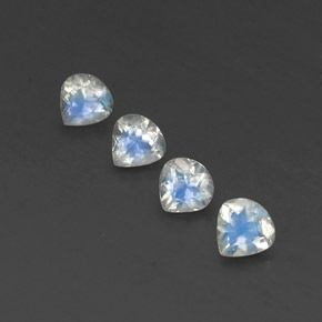 Blue White Rainbow Moonstone Gem - 0.4ct Pear Facet (ID: 339803)