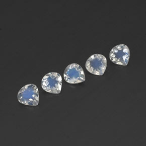 Blue White Rainbow Moonstone Gem - 0.3ct Pear Facet (ID: 341158)