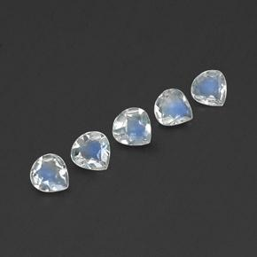 Blue White Rainbow Moonstone Gem - 0.3ct Pear Facet (ID: 341165)