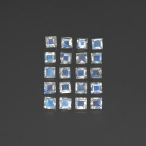 Bluish White Rainbow Moonstone Gem - 0.1ct Square Facet (ID: 350492)