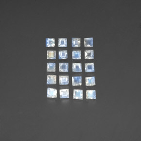 Blue White Rainbow Moonstone Gem - 0.2ct Square Facet (ID: 350511)