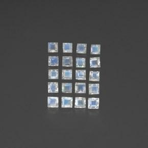 Blue White Rainbow Moonstone Gem - 0.1ct Square Facet (ID: 350525)