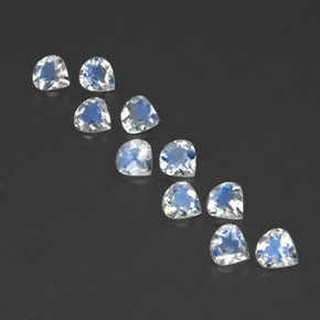 Blue White Rainbow Moonstone Gem - 0.3ct Pear Facet (ID: 350701)