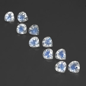 Blue White Rainbow Moonstone Gem - 0.4ct Pear Facet (ID: 350706)