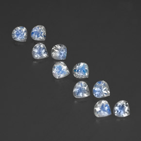 White Blue Rainbow Moonstone Gem - 0.4ct Pear Facet (ID: 350709)