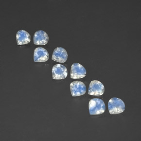 Bluish White Rainbow Moonstone Gem - 0.4ct Pear Facet (ID: 351108)