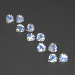 White Blue Rainbow Moonstone Gem - 0.4ct Pear Facet (ID: 351755)