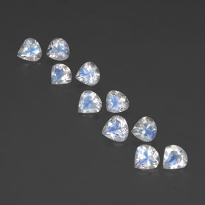 White Blue Rainbow Moonstone Gem - 0.4ct Pear Facet (ID: 351810)