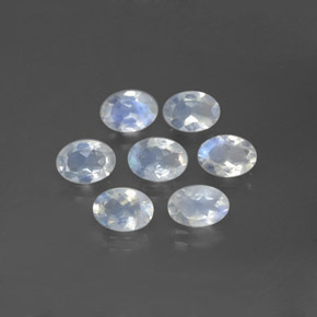 Blue White Rainbow Moonstone Gem - 0.6ct Oval Facet (ID: 381215)