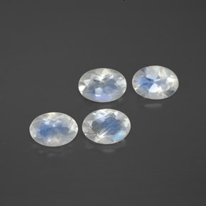 Blue White Rainbow Moonstone Gem - 0.7ct Oval Facet (ID: 381281)