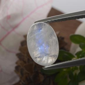 Blue White Rainbow Moonstone Gem - 2.6ct Oval Cabochon (ID: 468423)