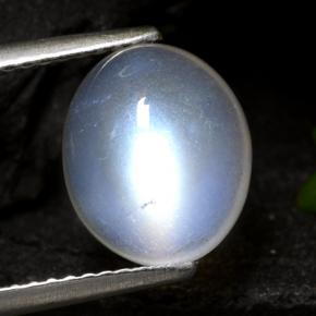 Bluish White Rainbow Moonstone Gem - 3.7ct Oval Cabochon (ID: 472590)