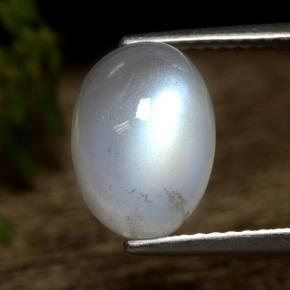 Bluish White Rainbow Moonstone Gem - 4.4ct Oval Cabochon (ID: 472920)