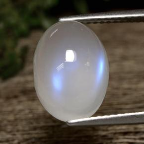Bluish White Rainbow Moonstone Gem - 5.8ct Oval Cabochon (ID: 472921)
