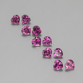 Raspberry Red Rhodolite Garnet Gem - 0.3ct Heart Facet (ID: 353505)