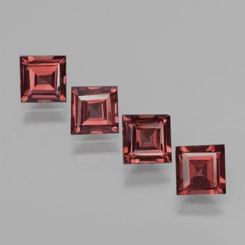 Dark Red Rhodolite Garnet Gem - 0.7ct Square Facet (ID: 431361)