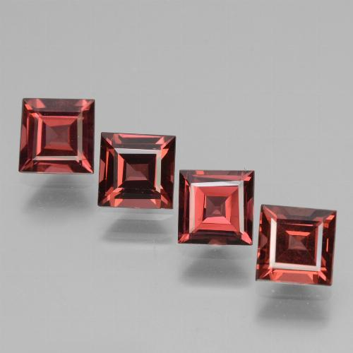 Dark Red Rhodolite Garnet Gem - 0.8ct Square Facet (ID: 431549)