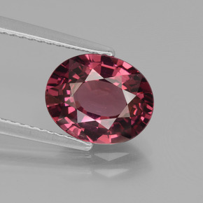 3.00 ct Oval Facet Pinkish Rose Rhodolite Garnet Gemstone 9.68 mm x 7.9 mm (Product ID: 439920)