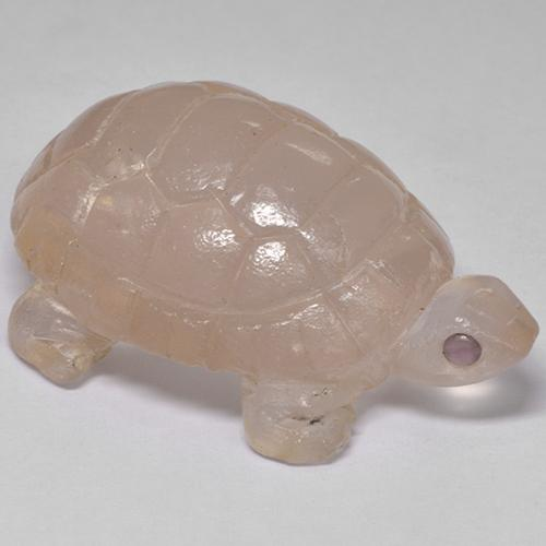 Pink Rose Quartz Gem - 63.3ct Carved Turtle (ID: 240625)