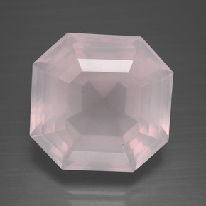 Light Pink Rose Quartz Gem - 17.2ct Asscher Cut (ID: 392181)