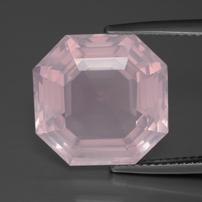 Light Pink Rose Quartz Gem - 11.8ct Asscher Cut (ID: 392275)