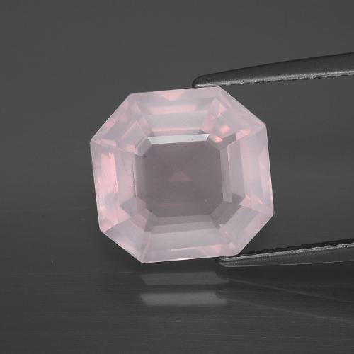 Very Light Rose Pink Rose Quartz Gem - 5.4ct Asscher Cut (ID: 395218)