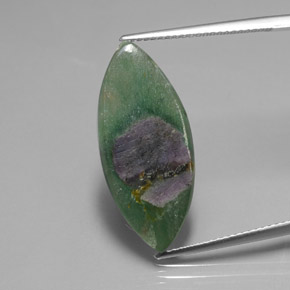 Bi-Color Ruby in Fuchsite Gem - 6.7ct Marquise Slice (ID: 385072)