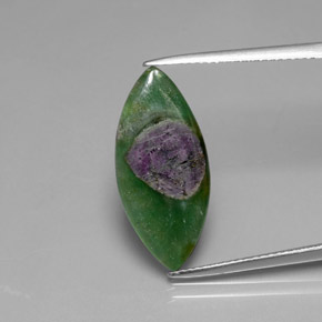 Multicolor Ruby in Fuchsite Gem - 5.1ct Marquise Slice (ID: 385165)