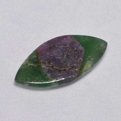 Bi-Color Ruby in Fuchsite Gem - 4.5ct Marquise Slice (ID: 386509)