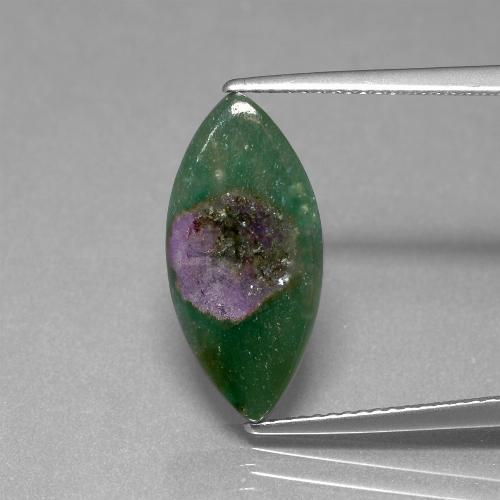 Bi-Color Ruby in Fuchsite Gem - 4.8ct Marquise Slice (ID: 386696)