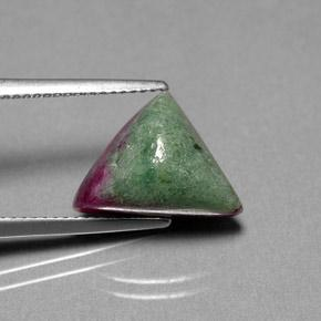 Multicolor Ruby-Zoisite Gem - 7.4ct Trillion Shape Sugarloaf Cabochon (ID: 293225)