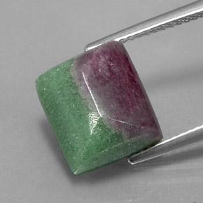 Multicolor Ruby-Zoisite Gem - 8.3ct Baguette Sugarloaf Cabochon (ID: 338228)