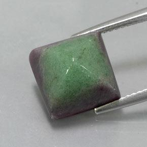 Multicolor Ruby-Zoisite Gem - 10.9ct Square Sugarloaf Cabochon (ID: 338235)