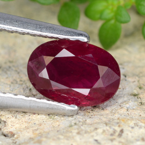 Pink Red Ruby Gem - 0.9ct Oval Facet (ID: 319428)