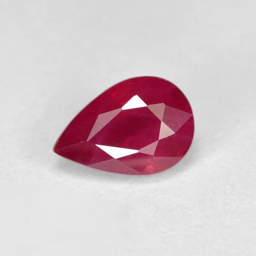 Pink Red Ruby Gem - 1ct Pear Facet (ID: 405894)