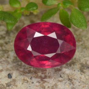 Pinkish Red Ruby Gem - 1.3ct Oval Facet (ID: 466335)