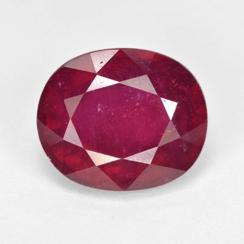 Pinkish Red Ruby Gem - 10.8ct Oval Facet (ID: 494682)