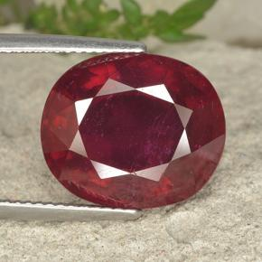 Pinkish Red Ruby Gem - 15.2ct Oval Facet (ID: 494688)