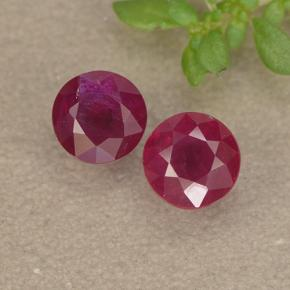 Pinkish Red Ruby Gem - 0.5ct Round Facet (ID: 494960)