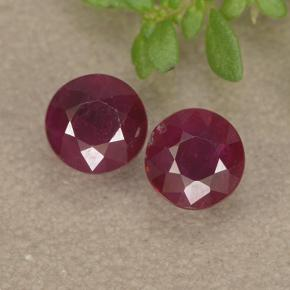 thumb image of 0.8ct Round Facet Pinkish Red Ruby (ID: 494966)