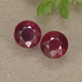 Pinkish Red Ruby Gem - 0.4ct Round Facet (ID: 494969)