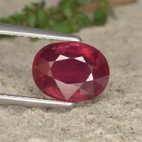 thumb image of 3.1ct Oval Facet Pinkish Red Ruby (ID: 495072)
